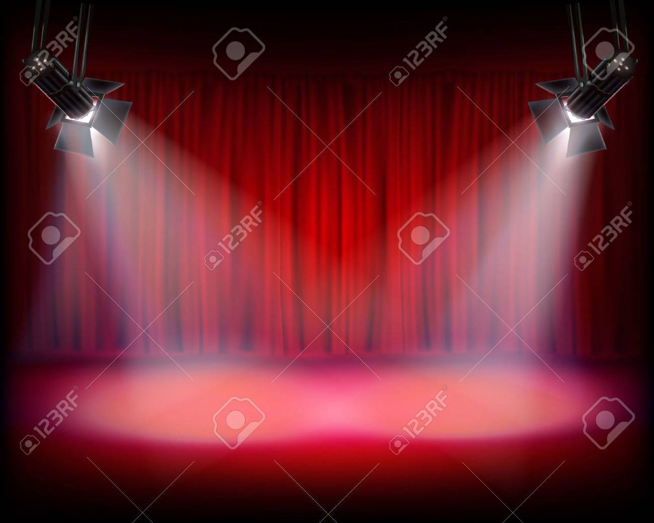 Stage with red curtain. Vector illustration. - 45935484