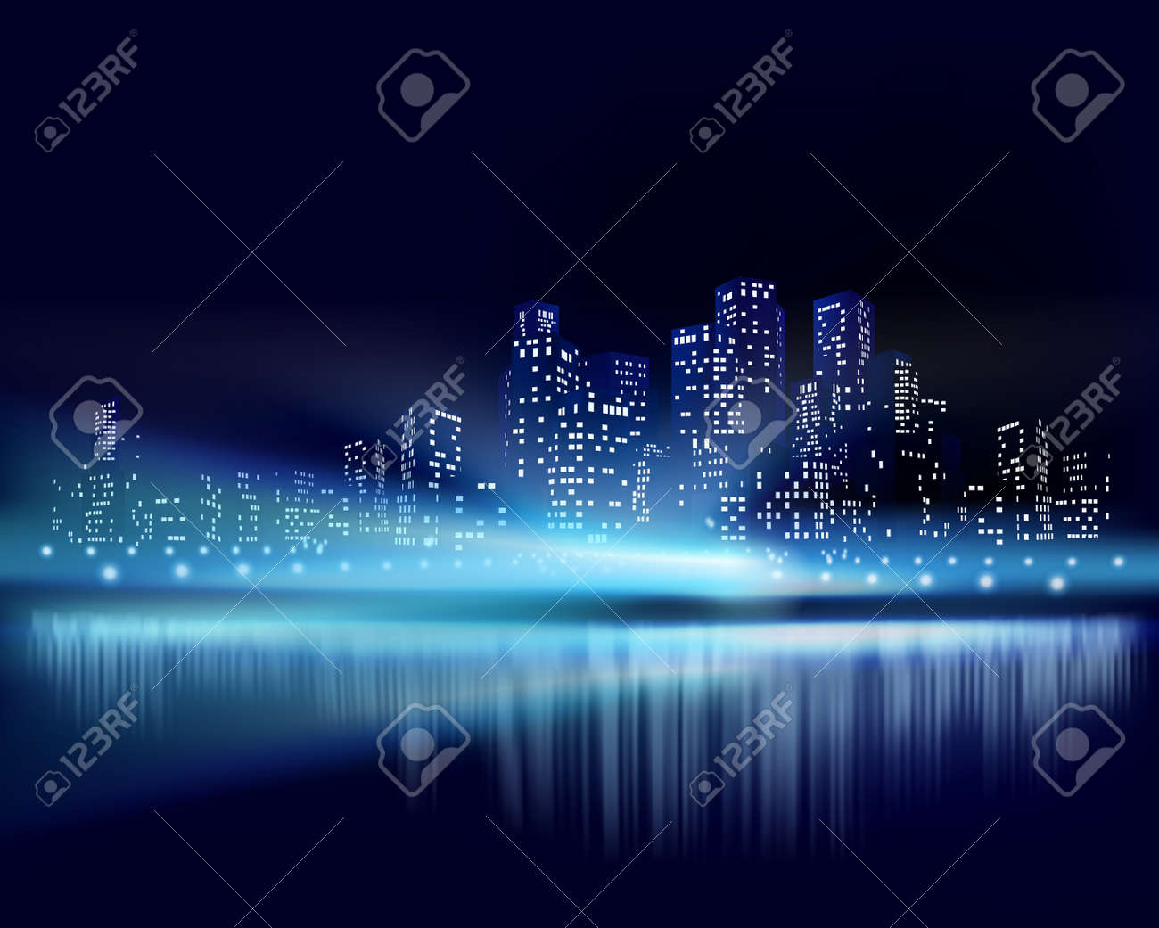 City view at night. Vector illustration - 47703846