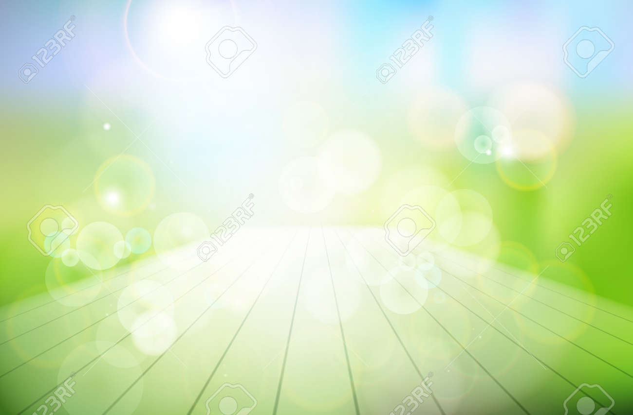 Nature background. Abstract wooden terrace in the garden. Vector..