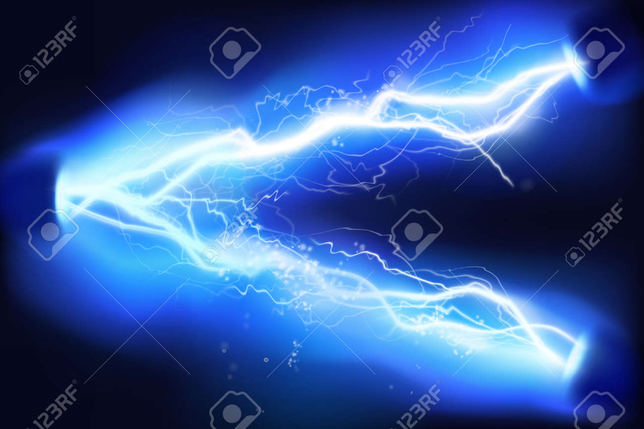 Heat lighting. High voltage. Energy of electric discharge. Vector illustration. - 120243251