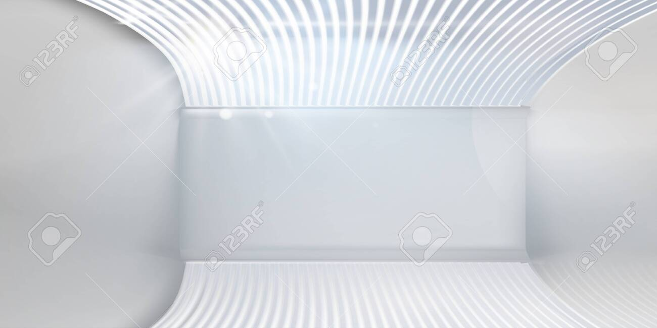 Empty room with blinds in the window. Free space for text, banner. Vector illustration. - 129001415