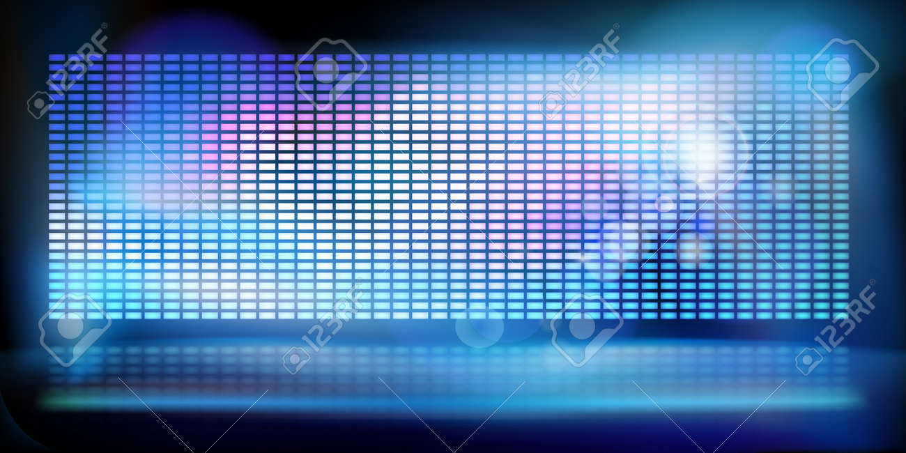 Big led projection screen. Show on the stage. Abstract technology background. Vector illustration. - 130023685