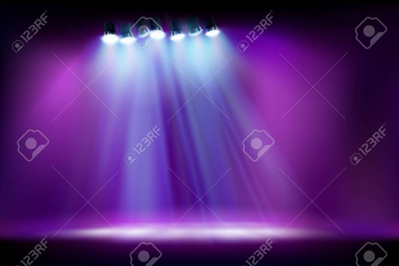 Empty stage before the show. Spotlights on purple background. Vector illustration. - 130023683
