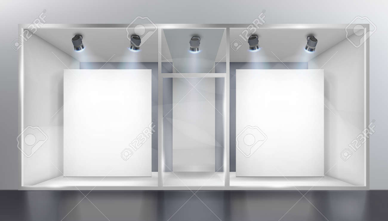 Illuminated shop window with spotlights in the mall. Place for the exhibition. White background. Vector illustration. - 134175111