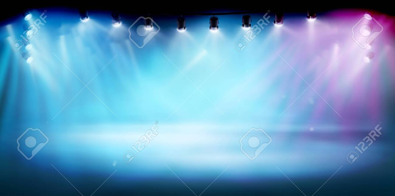 The stage illuminated by spotlights. The show on the stadium. Free space for advertising or displaying products. Vector illustration. - 154493634