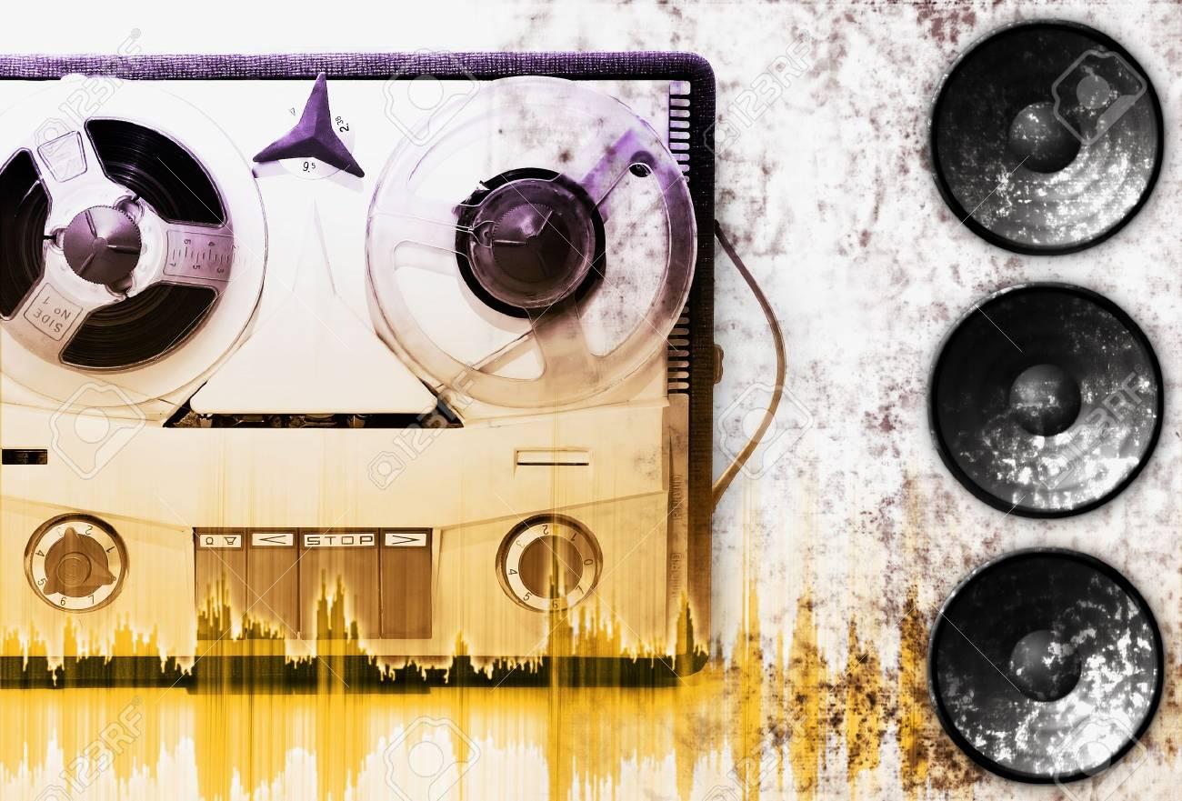 vintage grey analog recorder reel to reel Stock Photo - 752824