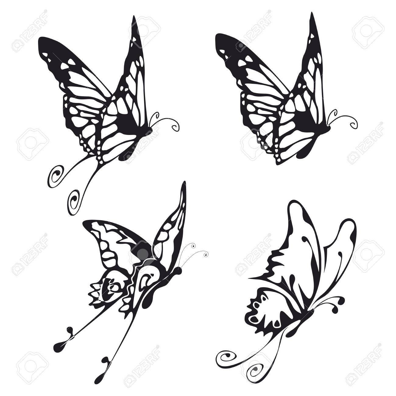 four illustration of fliyng buttefly black on white Stock Photo - 3635888