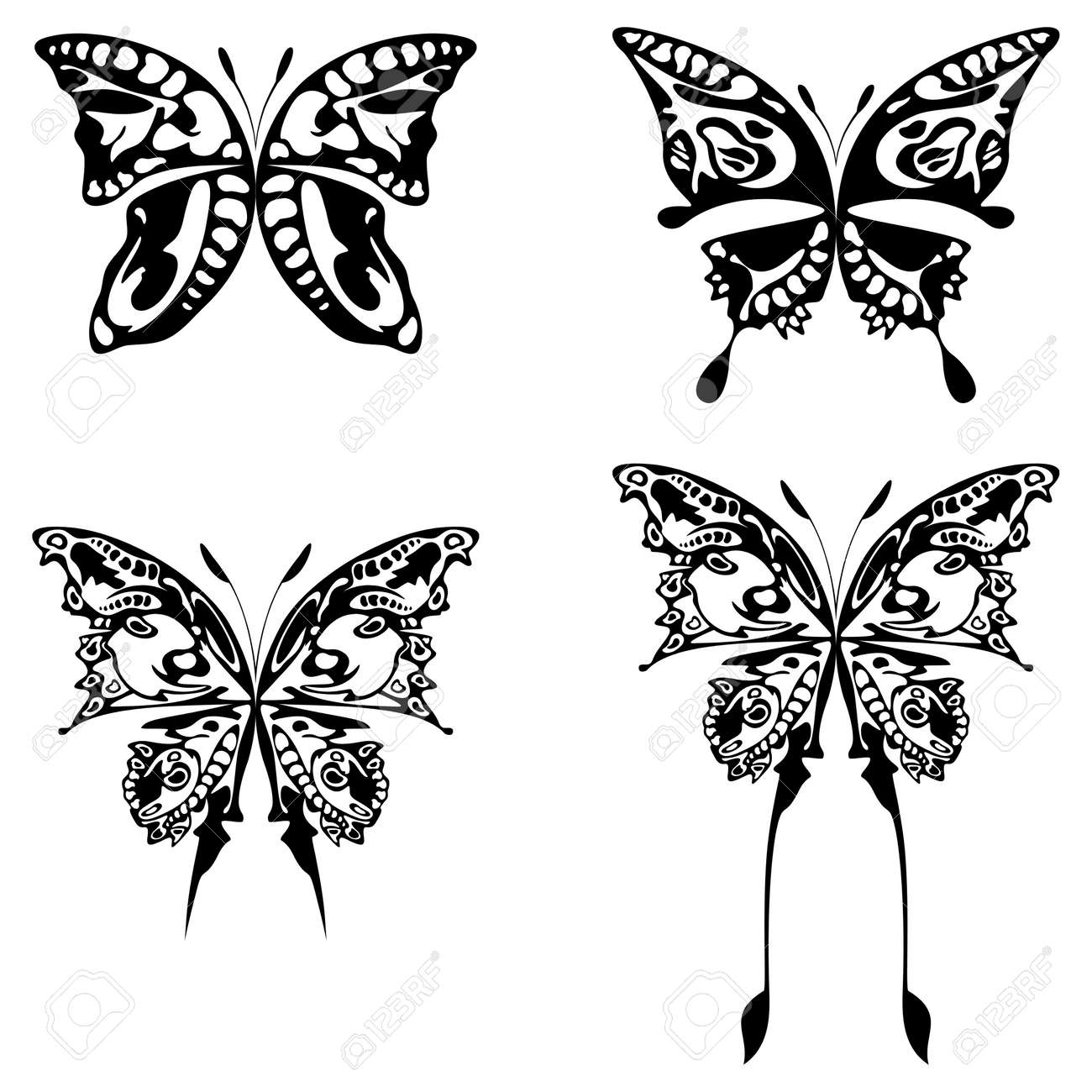 four illustration of buttefly black on white Stock Illustration - 3635889
