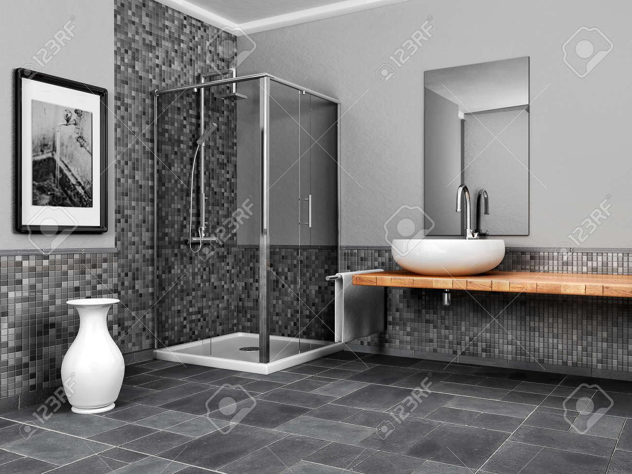 Großes Bad Mit Stein Und Mosaik Grauton Standard Bild   37454007