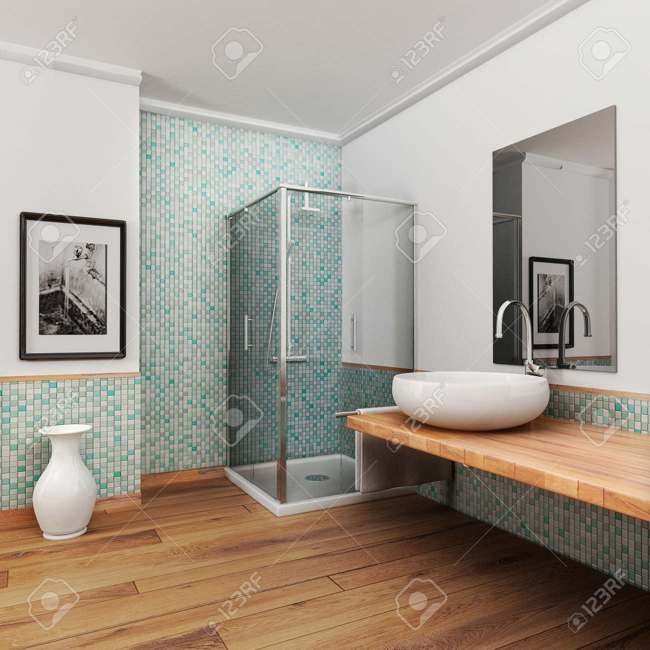 Large Bathroom With Wood Floor And Vintage Mosaic Light Blue.. Stock ...