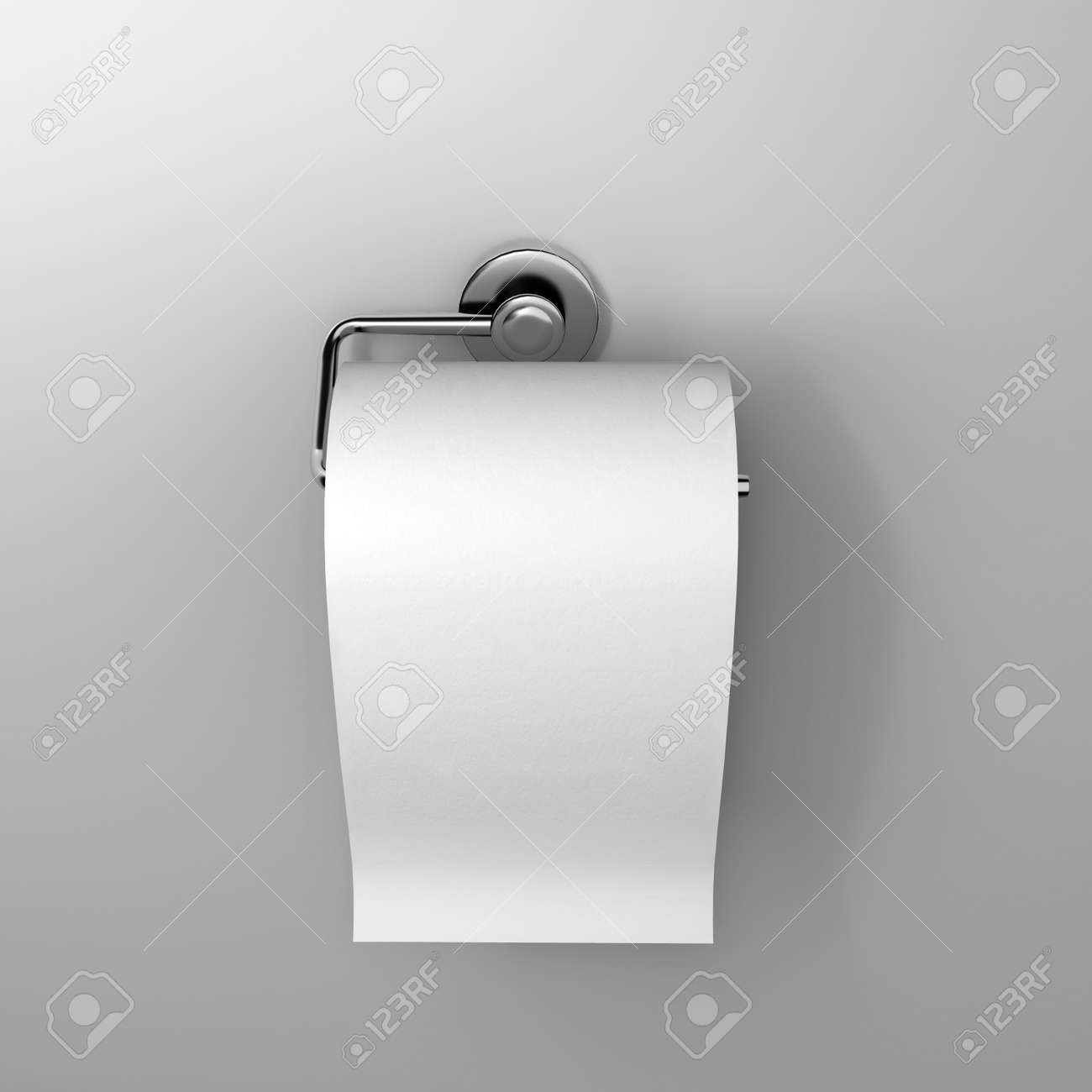 Roll Of White Toilet Paper Hanging On A Chrome Toilet Roll Holder