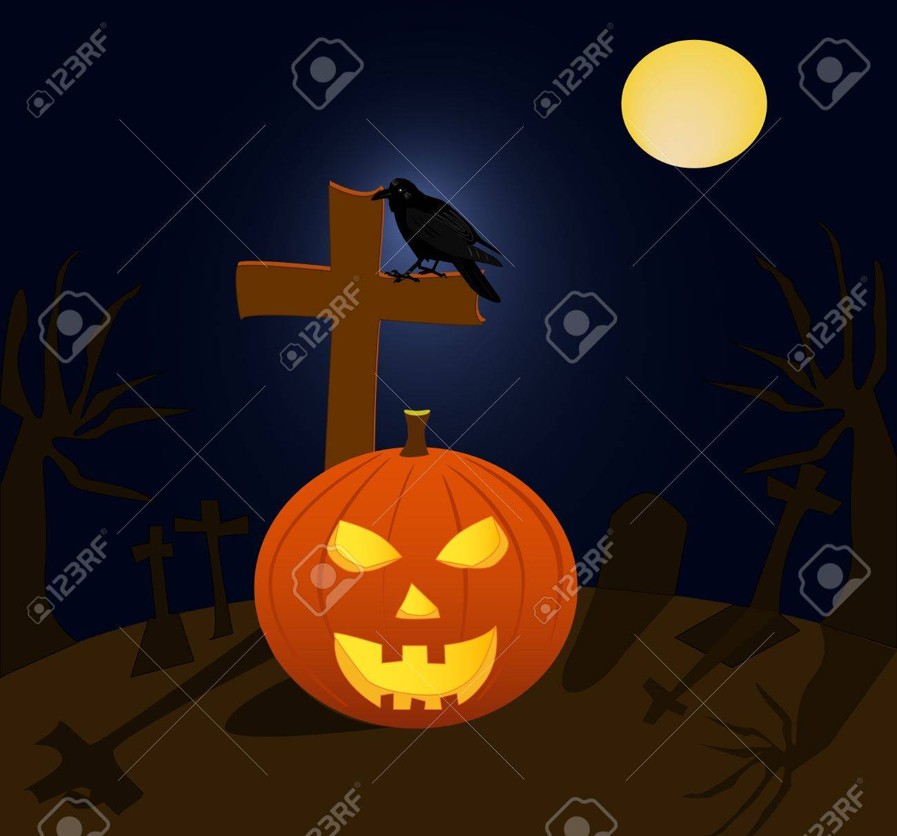 Halloween pumpkin and raven in cemetery during the full moon Stock Vector - 10703433