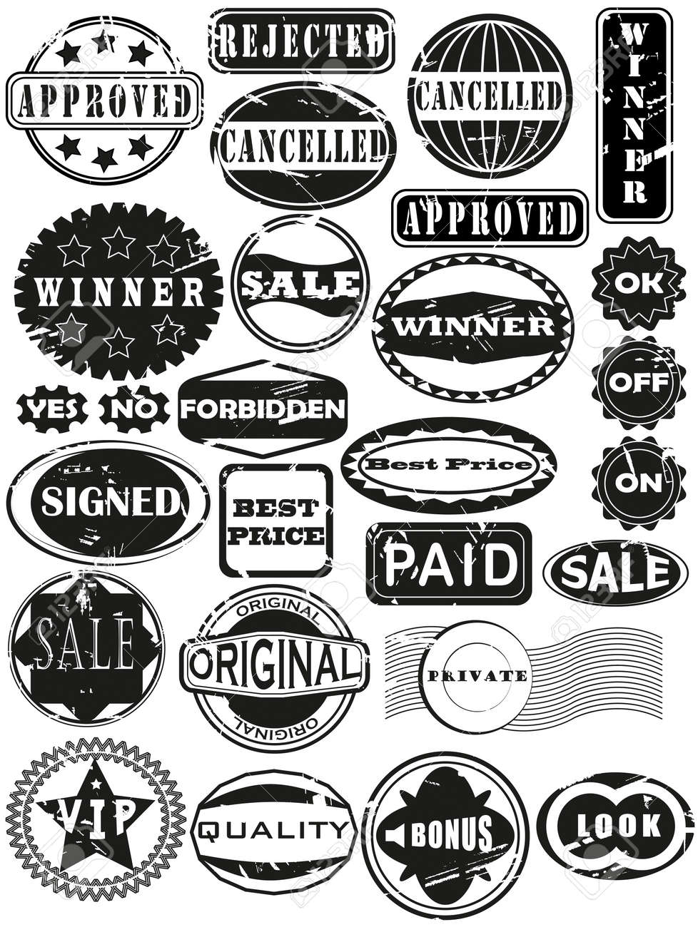 Collection of rubber stamps. Scratches in separate layer. See other rubber stamp collections in my portfolio. Stock Vector - 11569688