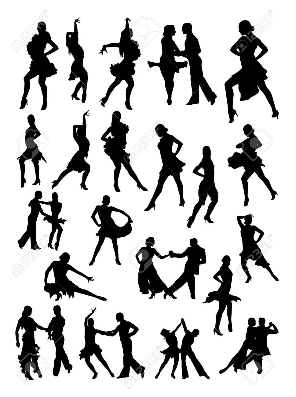 Salsa Dancer Silhouette In Black And White Royalty Free Cliparts Vectors And Stock Illustration Image 96792437