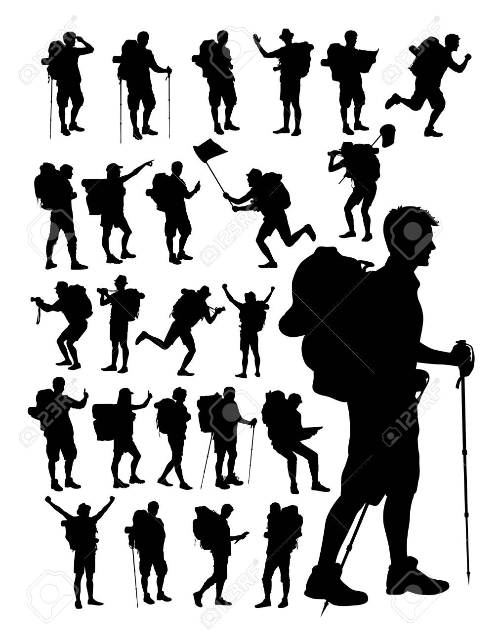 Hiker silhouettes on a white background - 100271851