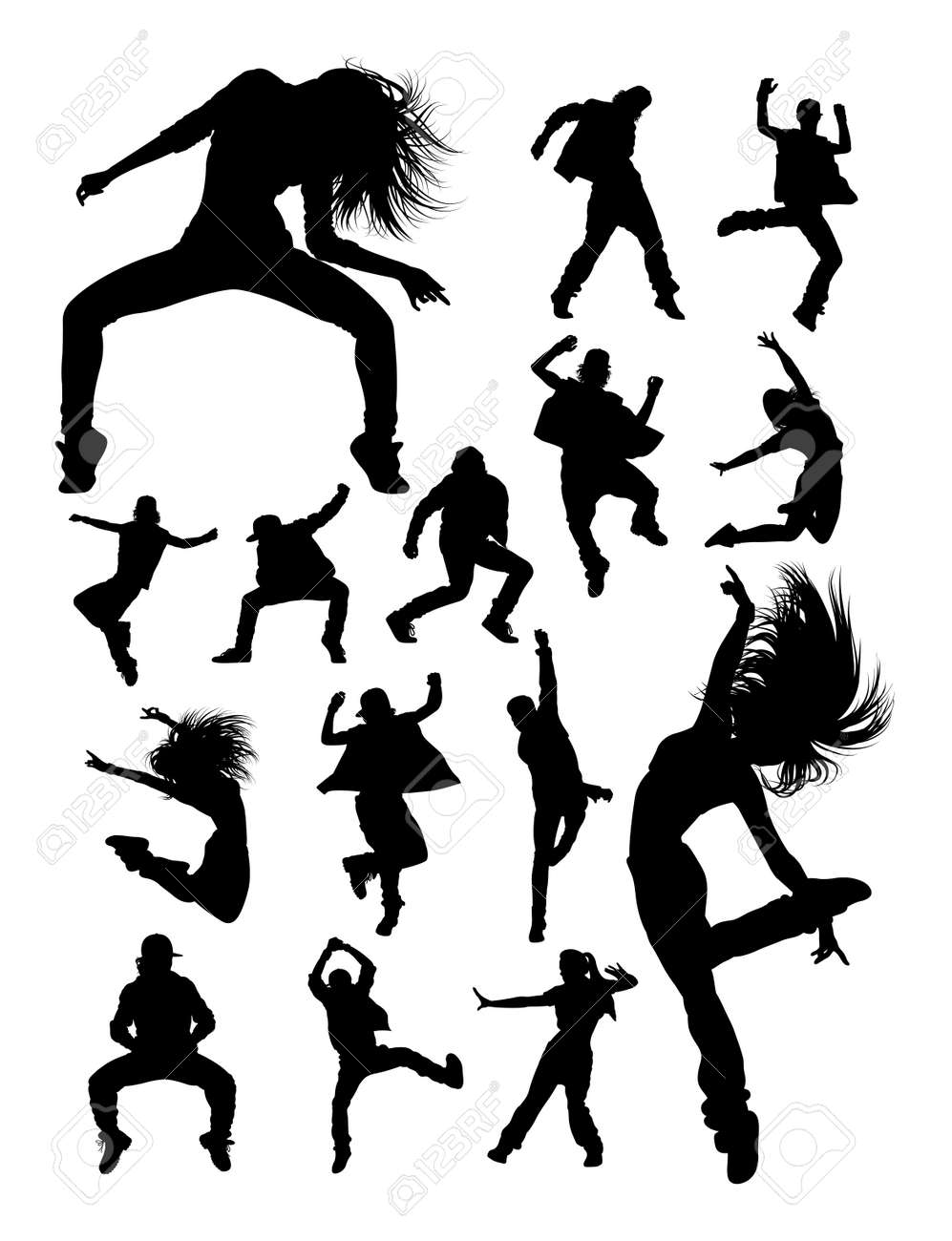 Hip hop modern dance dancer silhouettes. Good use for symbol, logo, web icon, mascot, sign, or any design you want. - 113466445