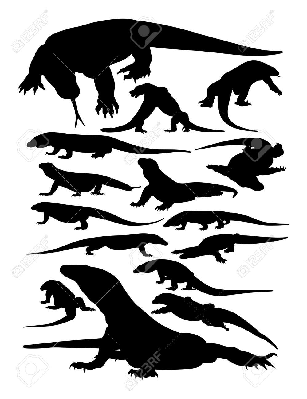Komodo animal silhouettes. Good use for symbol, logo, web icon, mascot, sign, or any design you want. - 117620341