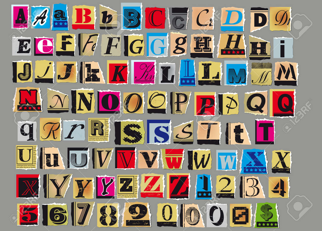 Letters and numbers cut out from old magazines and newspapers letters and numbers cut out from old magazines and newspapers isolated on gray background stock vector spiritdancerdesigns Choice Image