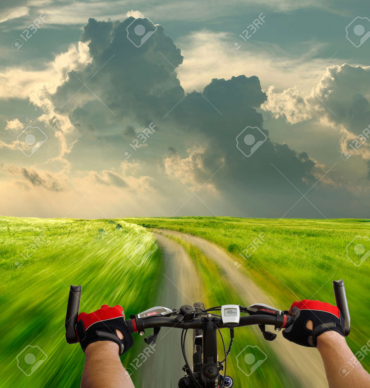 Man with bicycle riding country road Stock Photo - 11743795