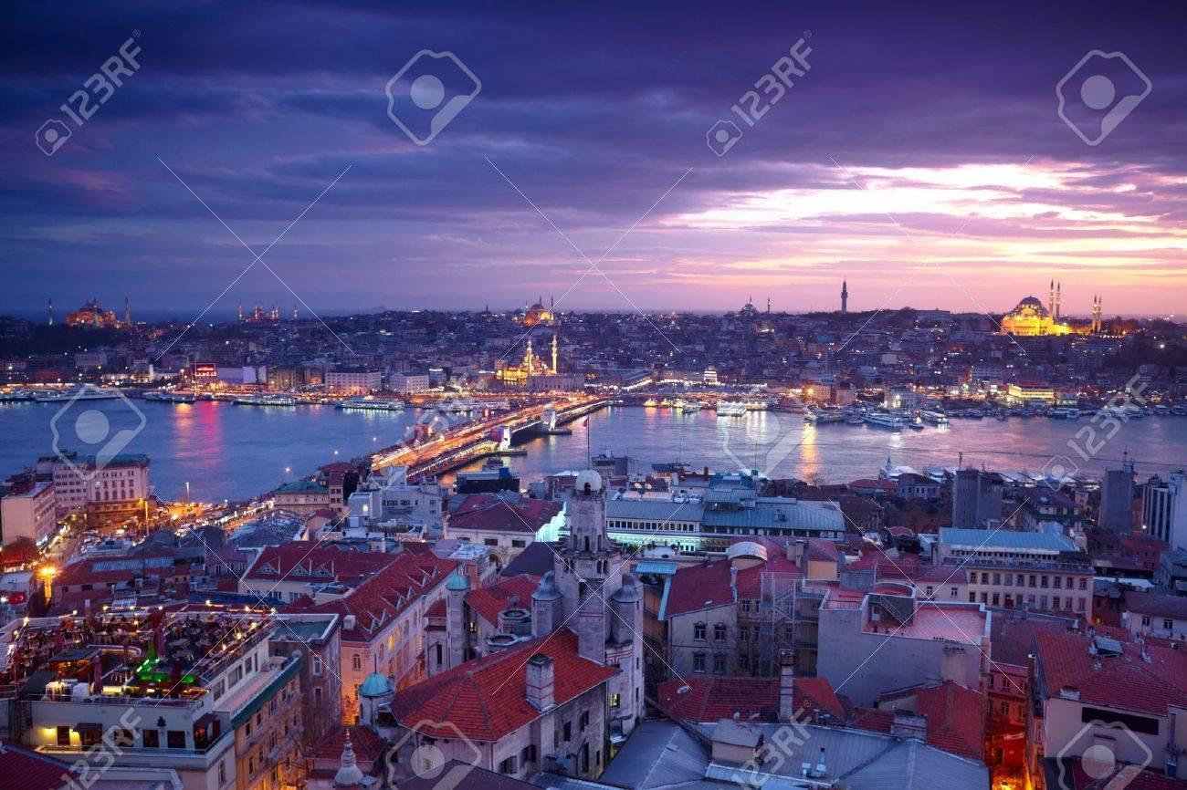 Istanbul Sunset Panorama Stock Photo - 11927609
