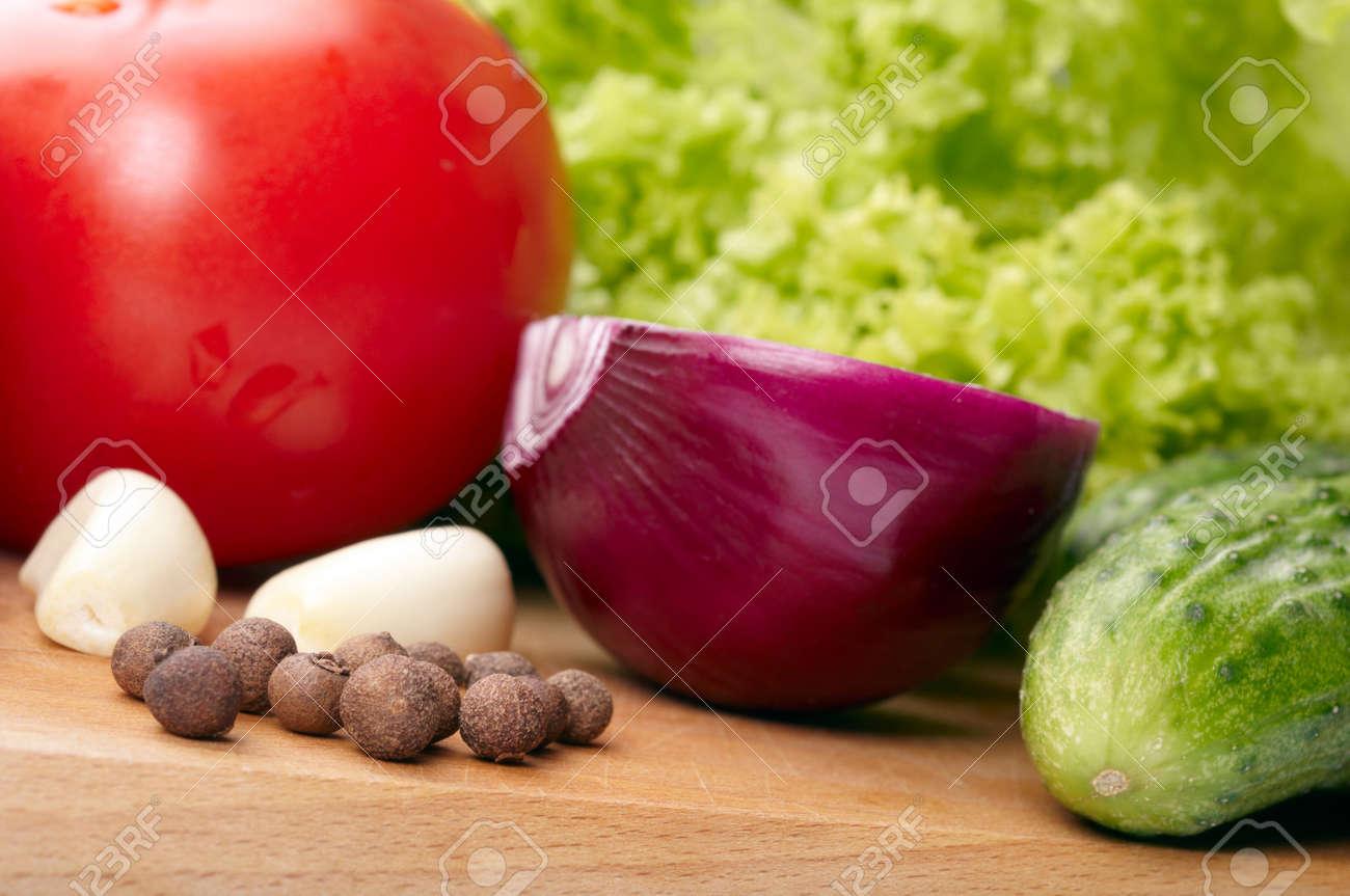 Fresh vegetables on wooden hardboard Stock Photo - 13698579