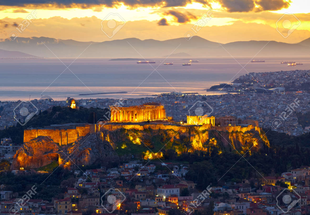 Athens, Greece. After sunset. Parthenon and Herodium construction in Acropolis Hill - 28294435
