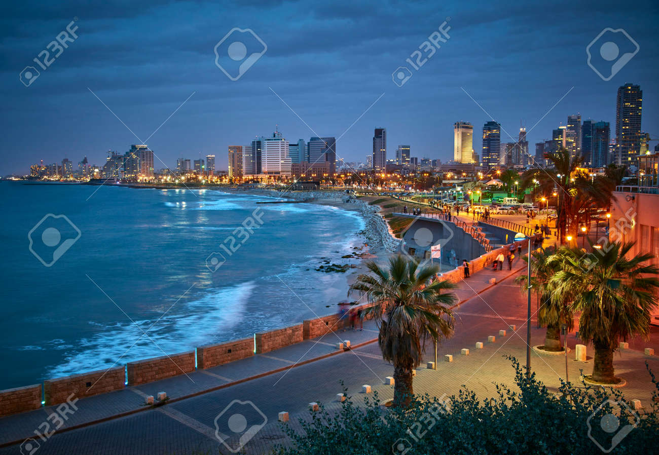 Waterfront of Tel Aviv. Night view from Jaffa. - 66677186