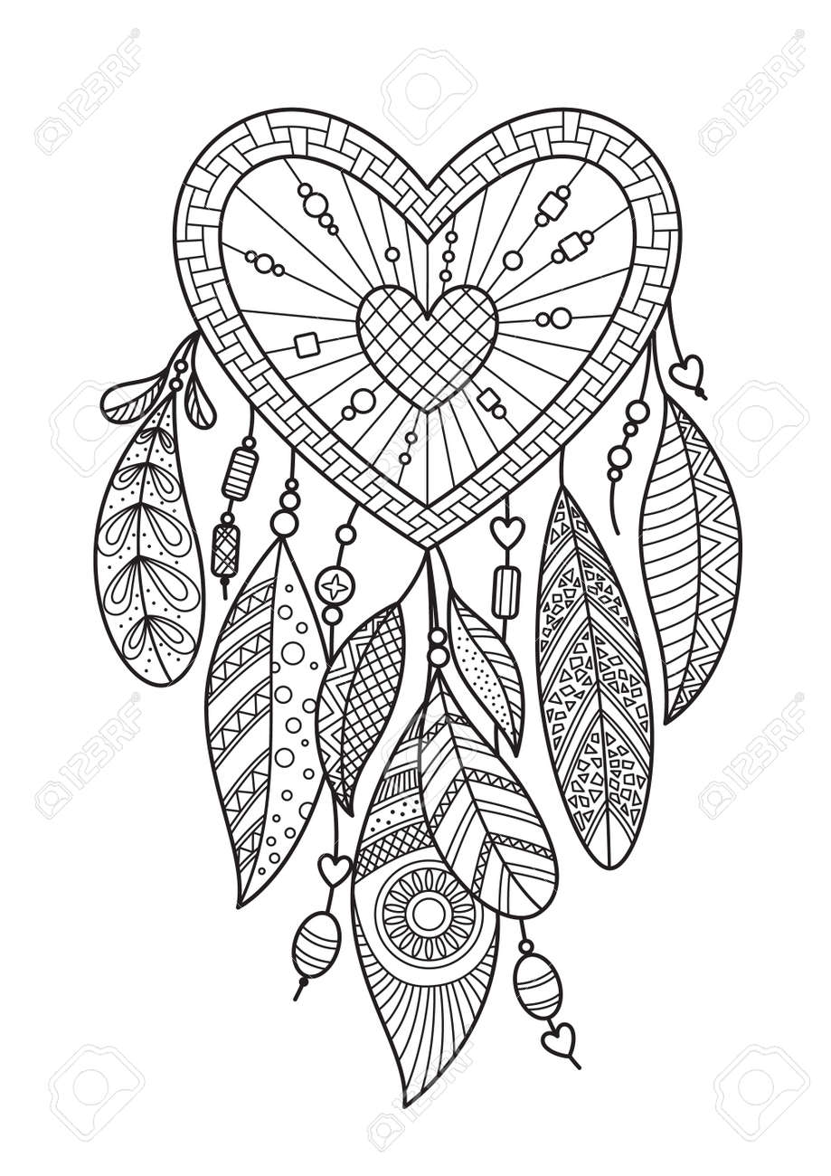 heart dream catcher with feathers. Doodle anti stress coloring book page for adult. Valentine day illustration isolated on the white background - 137334539