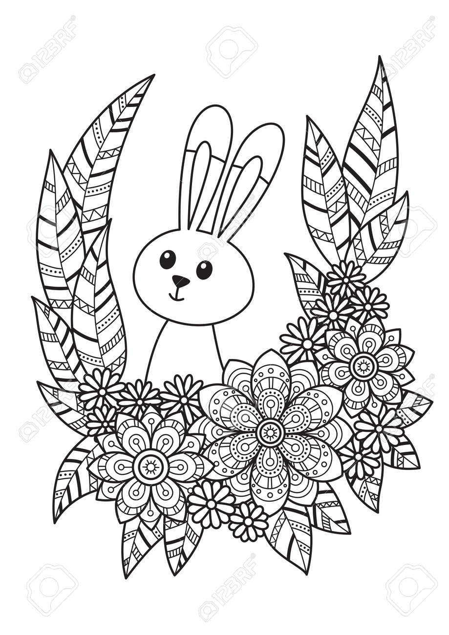 - Cute Easter Bunny In Flowers Doodle Coloring Book Page. Hand