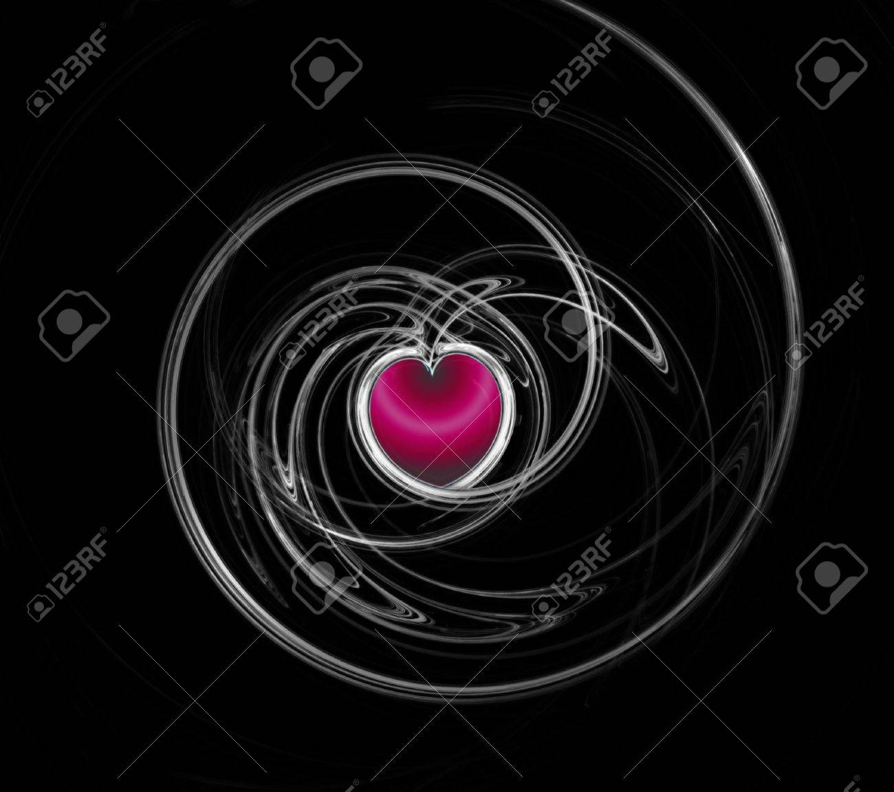 Fractal heart on the black Stock Photo - 3809821