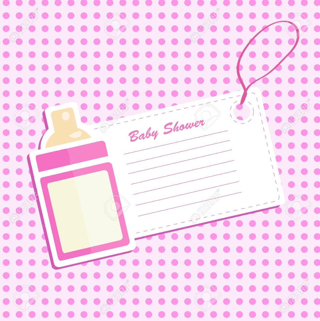 Baby bottle shower. Invitation card . Stock Vector - 12450341