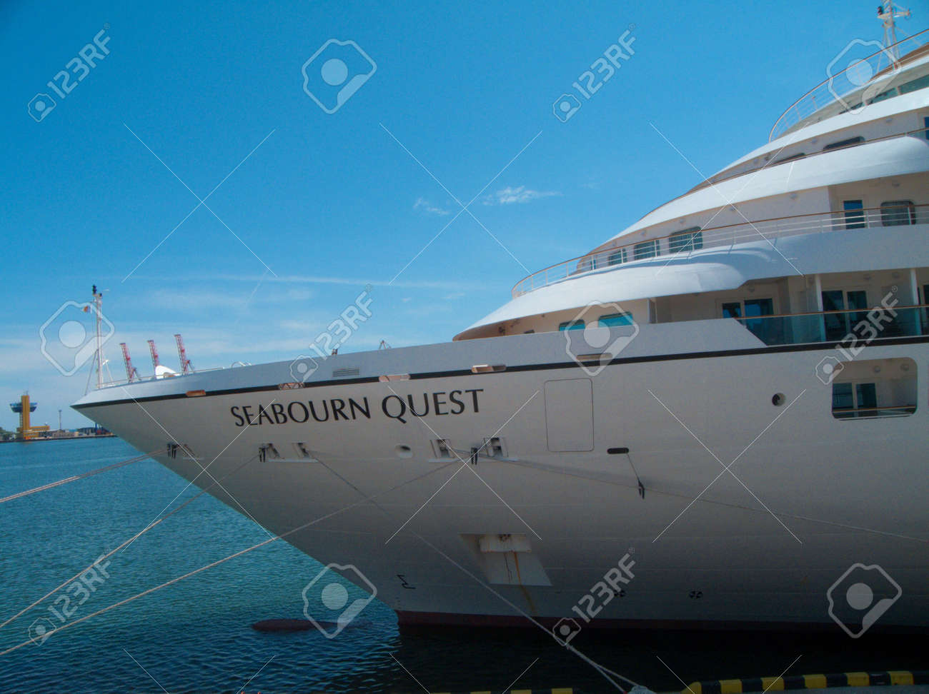 ODESSA, UKRAINE - May 21,2012: Passenger ship M/V Seabourn Quest (Built: 2011, Flag: Bagamas) visit Port of Odessa on 21 May, 2012 in Odessa, Ukraine. Stock Photo - 13744463