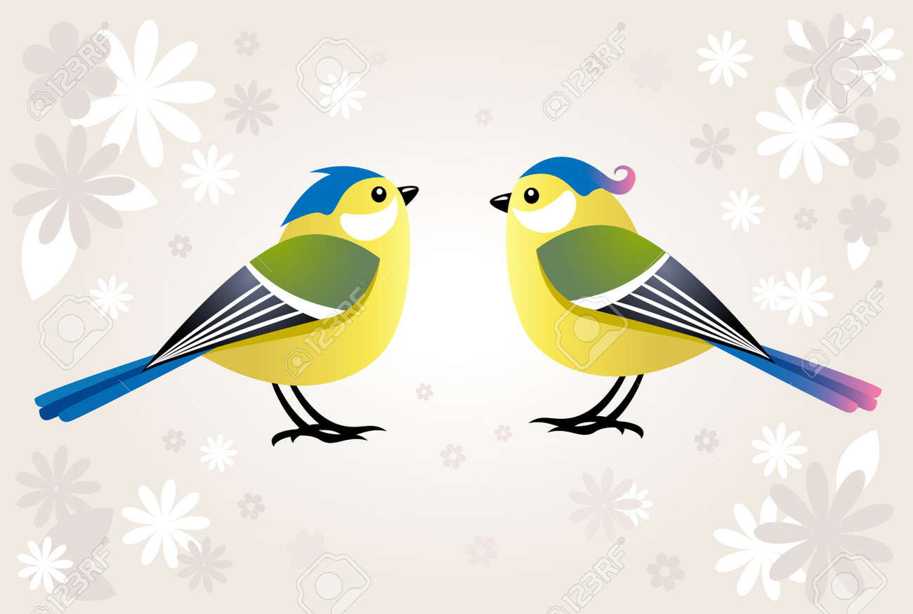 tit birds on a spring background with flowers Stock Vector - 6608551