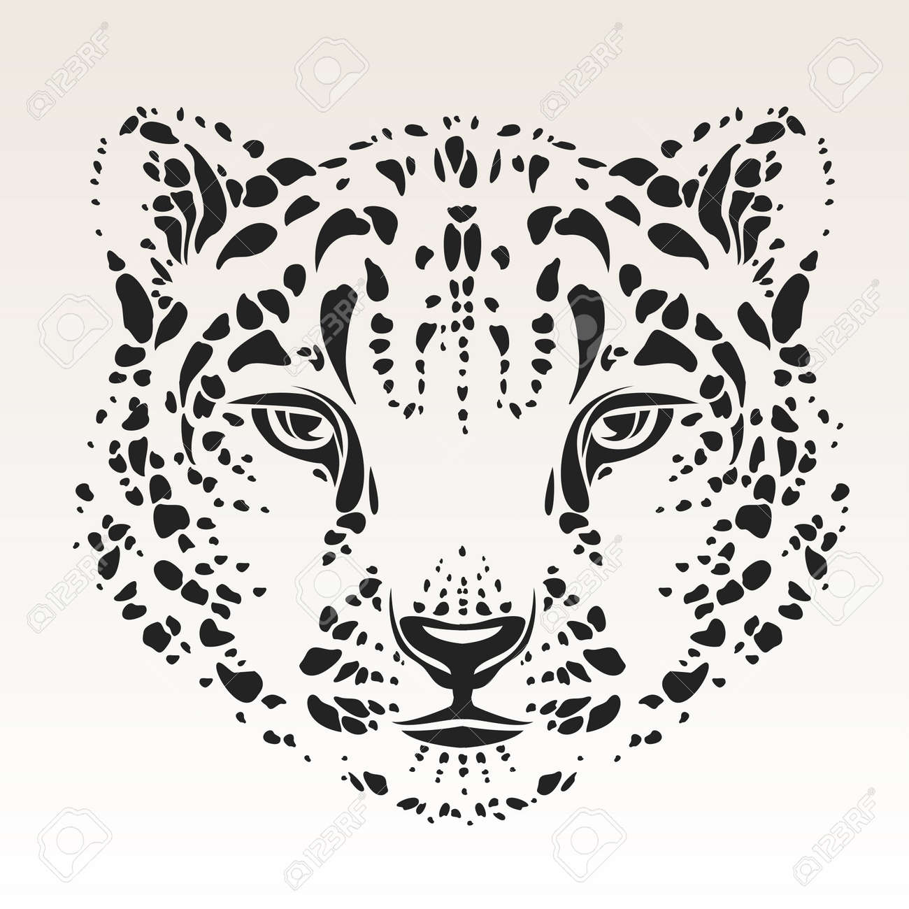 449290071 Snow Leopard Head Tribal Royalty Free Cliparts, Vectors, And Stock ...