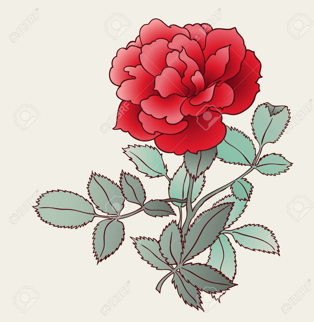 Rose Drawing Royalty Free Cliparts Vectors And Stock Illustration Image 7860180