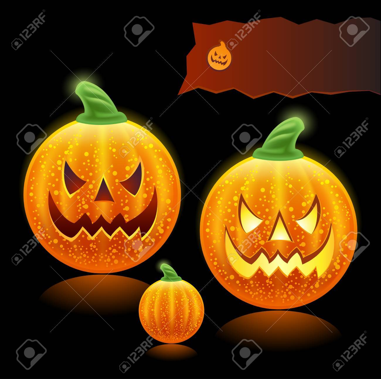haloween pumpkins family - icons Stock Vector - 7991897