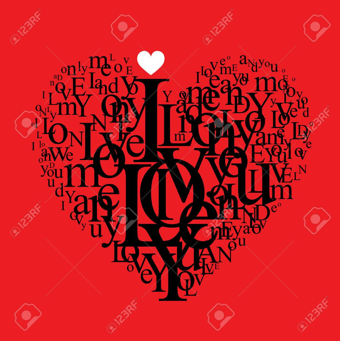 love background - typographic heart shape Stock Vector - 9081986