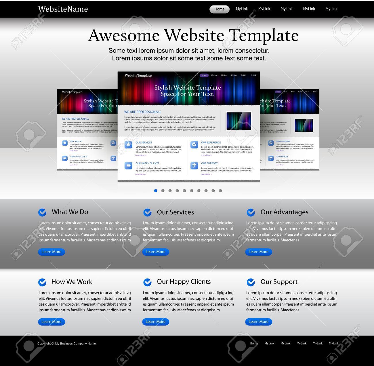 Editable Web Design Website Elements - Bright Template Royalty ...