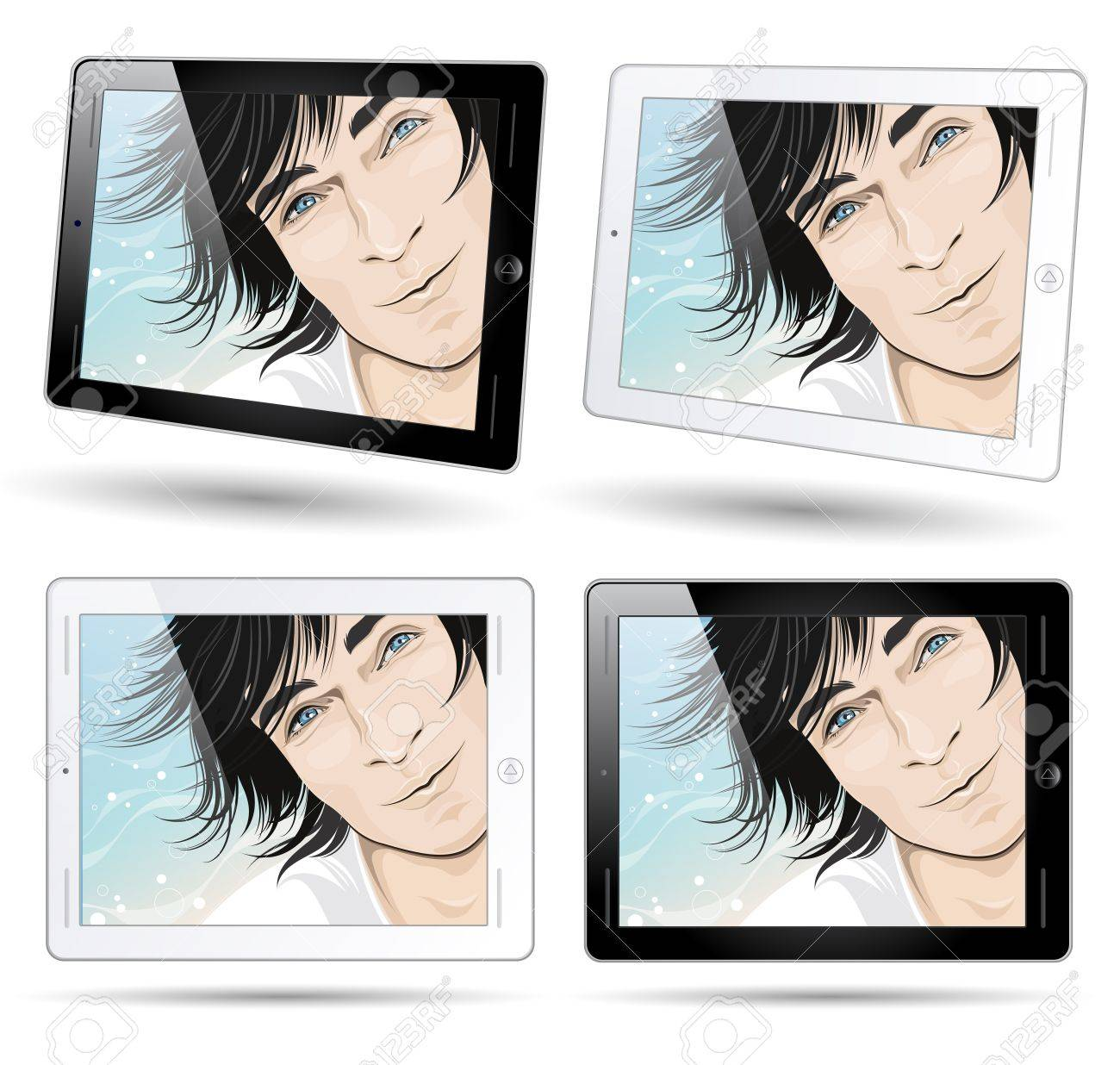 tablet computers with smiling male face background Stock Photo - 9674361