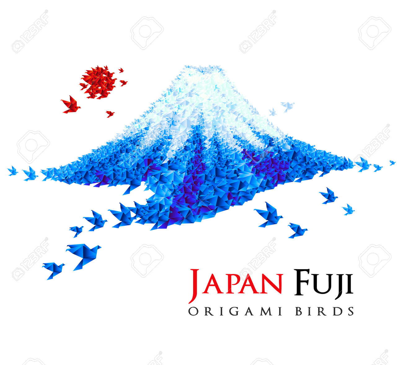 Fuji shaped from origami birds, Japan national symbol. Great for social, culture, travel creative idea designs. Stock Photo - 9674375