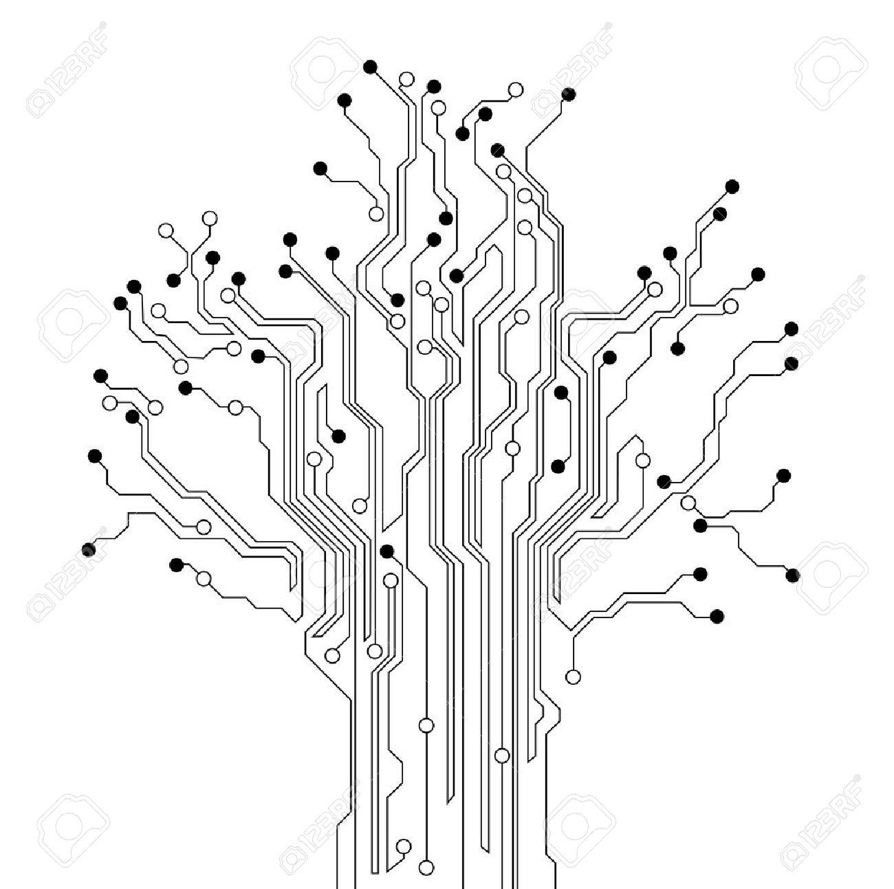 Fond De Carte De Circuit Imprimé Arbre Clip Art Libres De Droits ...