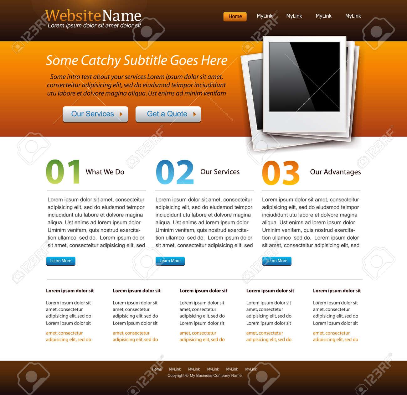 Modern Orange Website Motiv-Vorlage Mit Alten Bilderrahmen ...