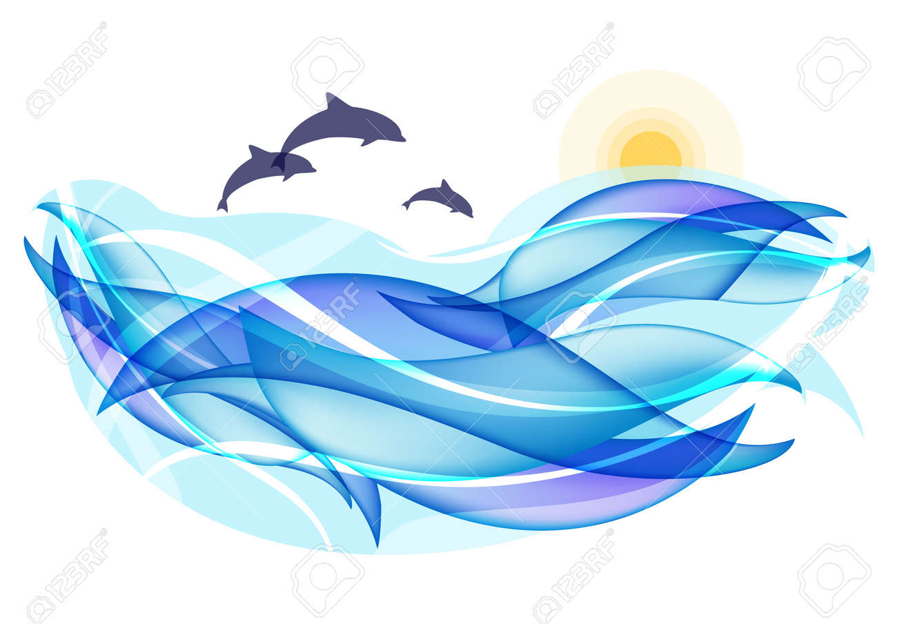 Summer background with ocean waves and dolphins Stock Vector - 10375242