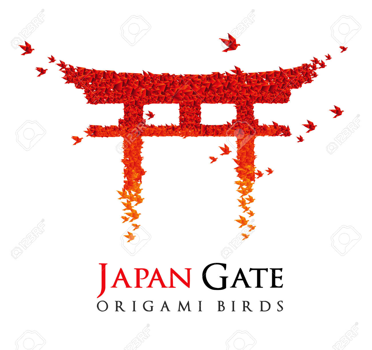 Japan origami gate Torii shaped from flying birds Stock Vector - 10375237