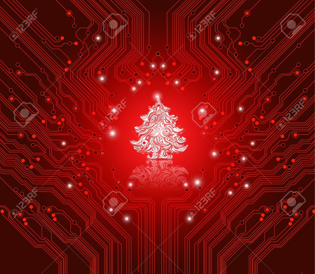 Christmas Red Background With Circuit Board Texture - Creative ...