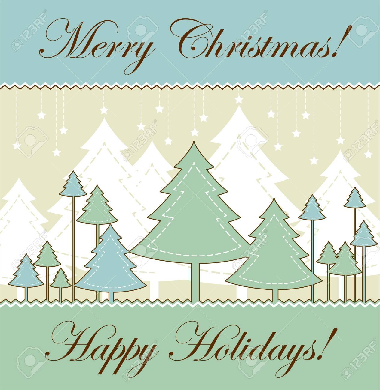 vintage Christmas card - retro style vector illustration Stock Vector - 11081851