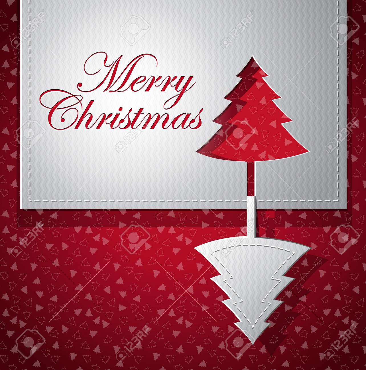 Christmas trendy greeting card - silver and red - paper cut vector illustration Stock Vector - 11081853
