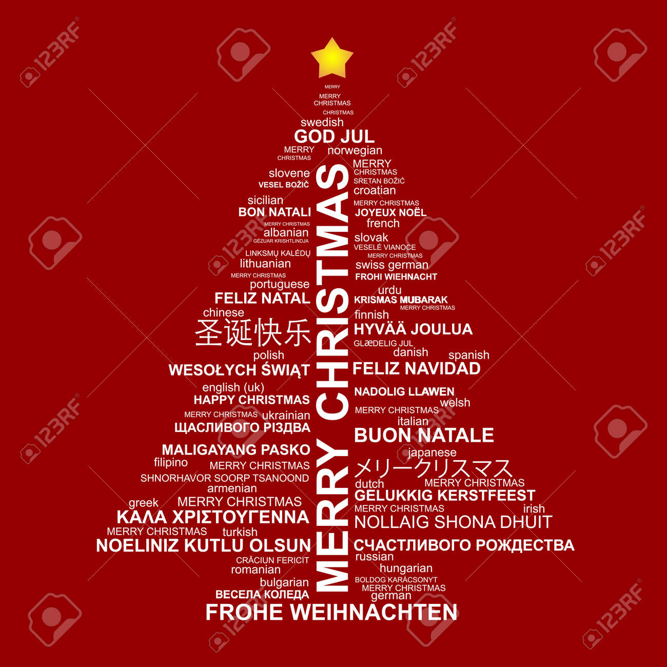 christmas tree shape from letters typographic composition