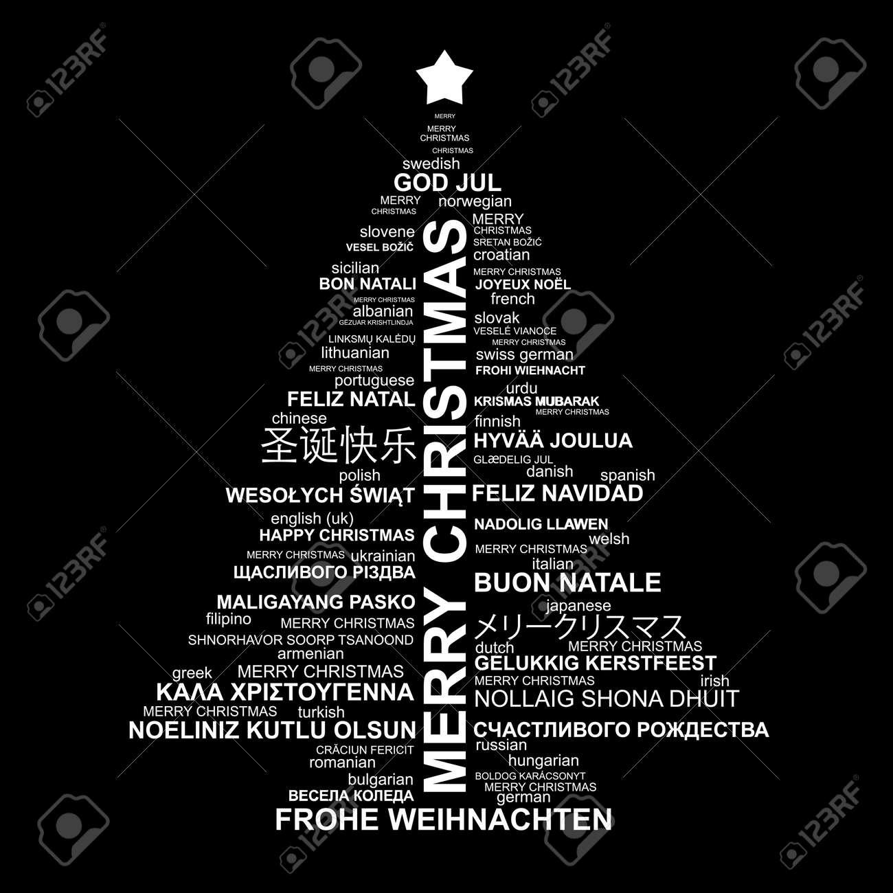 Frohe Weihnachten Auf Allen Sprachen.Stock Photo
