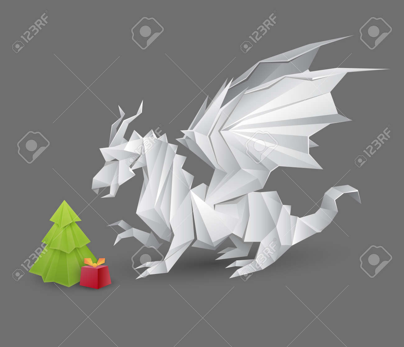 Origami Dragon And A Christmas Tree With Present